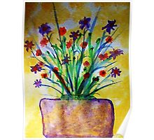Flowers on the Patio, watercolor Poster