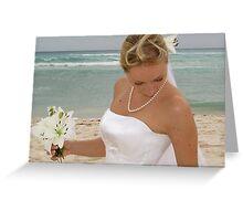 A bride at the beach Greeting Card