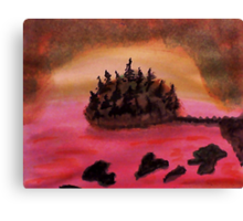 Island of Pine Trees in sunset on Pink Ocean, watercolor Canvas Print