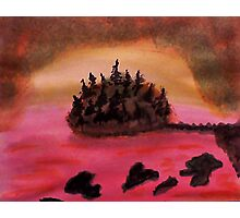 Island of Pine Trees in sunset on Pink Ocean, watercolor Photographic Print