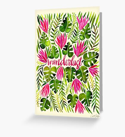 Tropical Wanderlust – Pink & Lime Greeting Card
