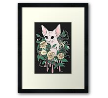 Light Floral Feline Framed Print