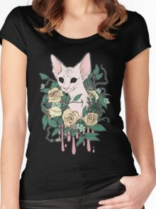 Light Floral Feline Women's Fitted Scoop T-Shirt
