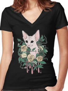 Light Floral Feline Women's Fitted V-Neck T-Shirt