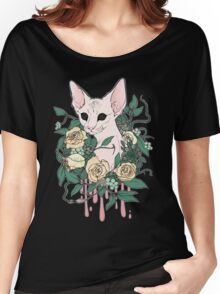 Light Floral Feline Women's Relaxed Fit T-Shirt