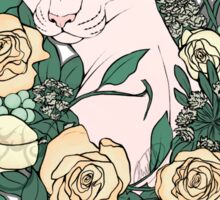 Light Floral Feline Sticker