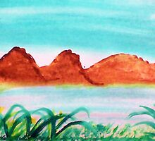 Lake close to mountains in desert, watercolor by Anna  Lewis
