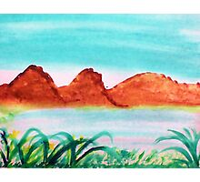 Lake close to mountains in desert, watercolor Photographic Print