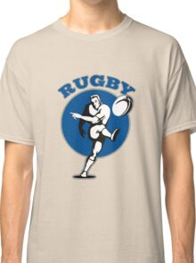 rugby player running kicking ball Classic T-Shirt