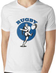 rugby player running kicking ball Mens V-Neck T-Shirt