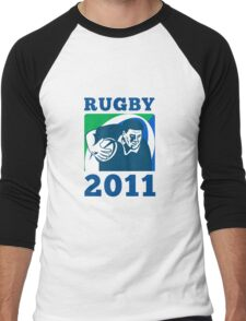 rugby player running with ball world cup 2011 Men's Baseball ¾ T-Shirt