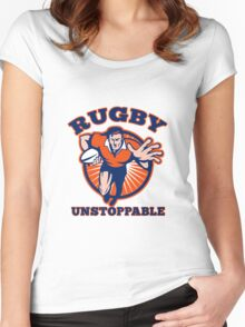 rugby player running with ball fending Women's Fitted Scoop T-Shirt