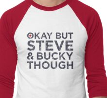 Steve and Bucky Though - Dark Text Men's Baseball ¾ T-Shirt