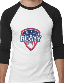 rugby ball and shield usa Men's Baseball ¾ T-Shirt