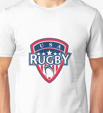 rugby ball and shield usa Unisex T-Shirt