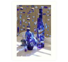 Blue bottles and bits of blue bottles  Art Print