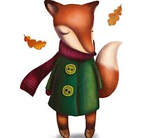 Autumn cute fox in coat by marieify