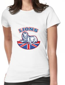 Lion sitting GB British union jack flag Womens Fitted T-Shirt