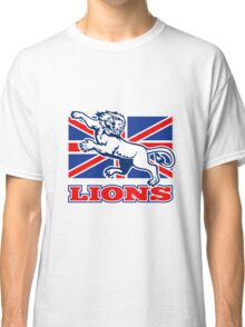 Lion attacking GB British union jack flag Classic T-Shirt