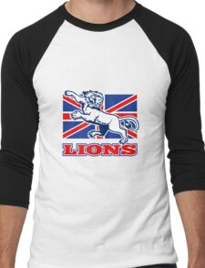 Lion attacking GB British union jack flag Men's Baseball ¾ T-Shirt