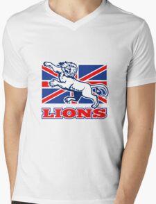 Lion attacking GB British union jack flag Mens V-Neck T-Shirt
