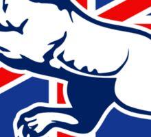 Lion attacking GB British union jack flag Sticker