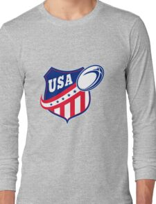 USA American rugby ball and shield Long Sleeve T-Shirt