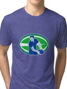 rugby player running passing ball Tri-blend T-Shirt