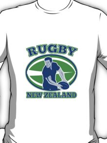 rugby player running passing ball new zealand T-Shirt