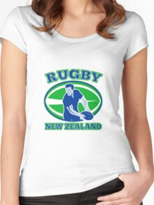 rugby player running passing ball new zealand Women's Fitted Scoop T-Shirt