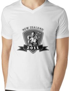 rugby player running passing ball new zealand 2011 Mens V-Neck T-Shirt