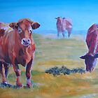 Summer Haze - Acrylic Painting of Cows on a sunny hazy day by MikeJory