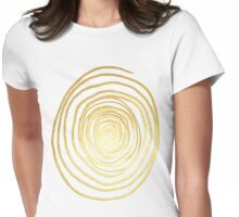 Painted Spiral Swirl in Faux Sparkly Gold Womens Fitted T-Shirt