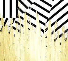 Paint Strokes in Faux Gold on Black & White Stripe by Blkstrawberry