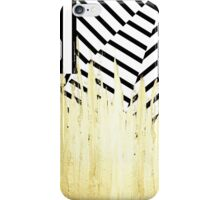 Paint Strokes in Faux Gold on Black & White Stripe iPhone Case/Skin