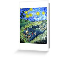 Spooning devils under a starry night sky Greeting Card
