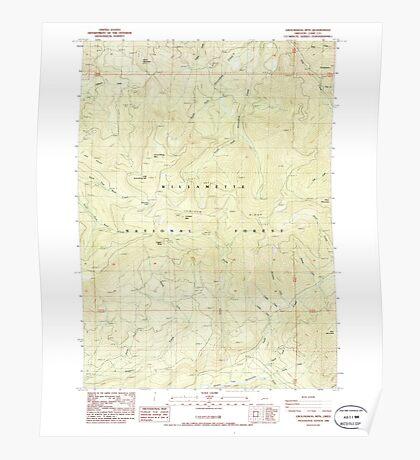 USGS Topo Map Oregon Groundhog Mountain 280109 1986 24000 Poster