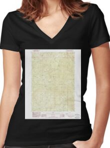 USGS Topo Map Oregon Groundhog Mountain 280109 1986 24000 Women's Fitted V-Neck T-Shirt