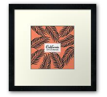 """Californita, City of Dreams"" Coral and Palm Fronds Framed Print"