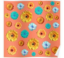 Summery Flowers on Cadmium Orange Background Poster