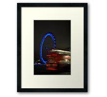 Blue Eye/Red Bus - The London Eye at Night Framed Print