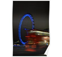 Blue Eye/Red Bus - The London Eye at Night Poster