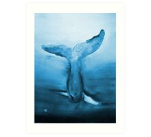 Diving Blue Whale  Art Print