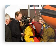 Prince William and Catherine meet the crew. Metal Print