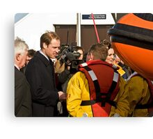Prince William and Catherine meet the crew. Canvas Print