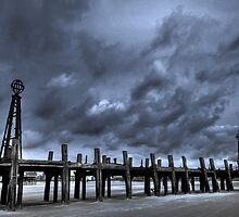 LYTHAM OLD PIER APPROACHING STORM by Phil  WEBB
