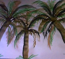 3 palm Trees , watercolor by Anna  Lewis