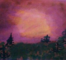 Pine trees in lavender sunset,Beautifully done, watercolor by Anna  Lewis