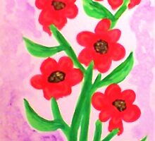 Red flowers for Valentines for my Lover, watercolor by Anna  Lewis
