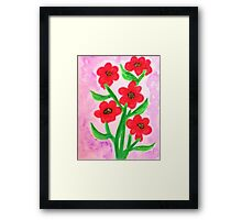 Red flowers for Valentines for my Lover, watercolor Framed Print
